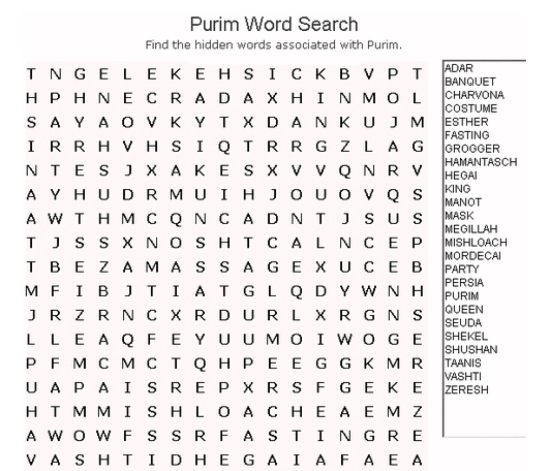 Purim Word Search | Kitah Dalet | Word Search Puzzles, Free Word - General Knowledge Crossword Puzzles Printable