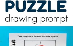 Puzzle Drawing Prompt For Kids With A Free Printable Template   Free   Printable Drawing Puzzles