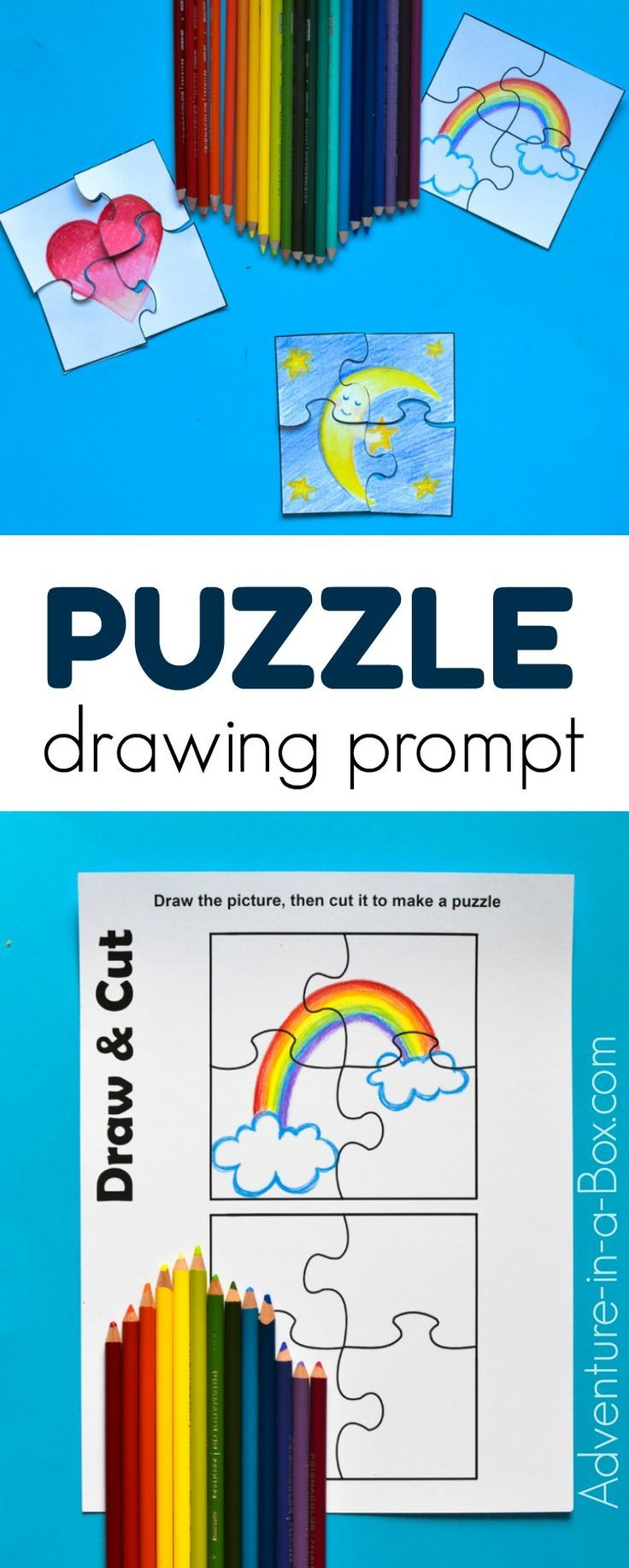 Puzzle Drawing Prompt For Kids With A Free Printable Template | Free - Printable Drawing Puzzles