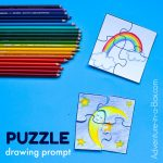 Puzzle Drawing Prompt For Kids With A Free Printable Template   Printable Drawing Puzzles