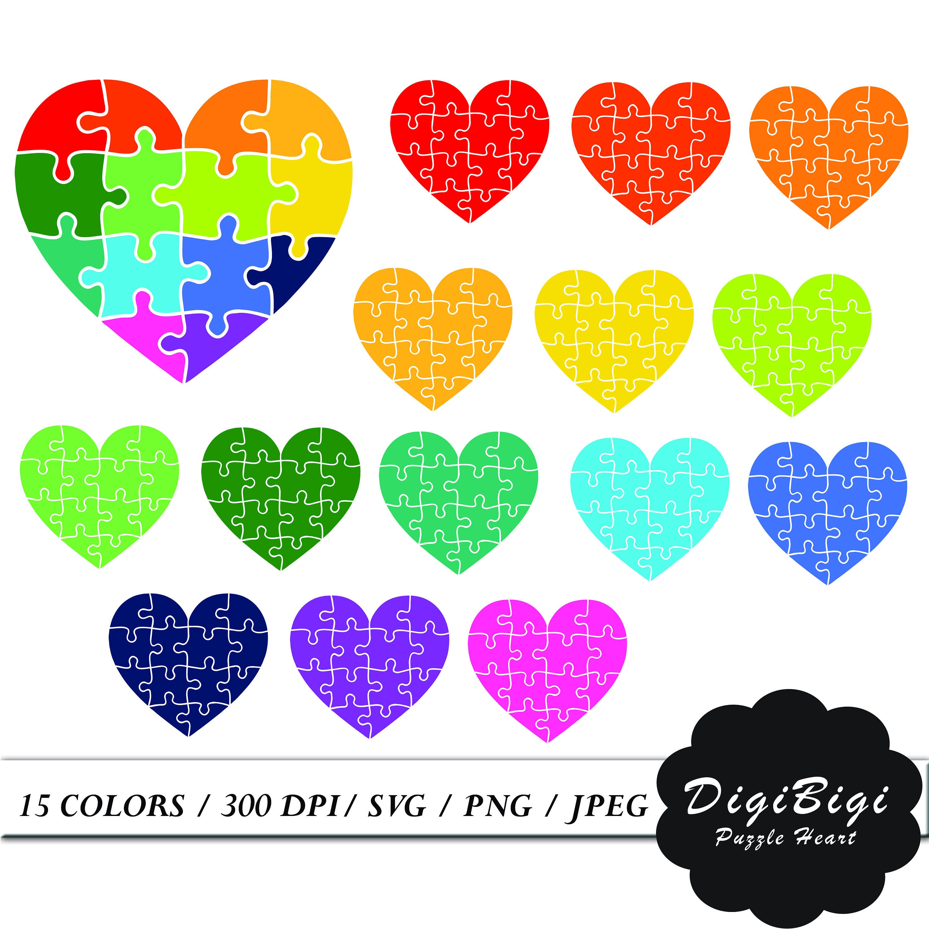 Puzzle Heart Clipart Heart Digital Planner Clipart Rainbow | Etsy - Printable Puzzle Heart