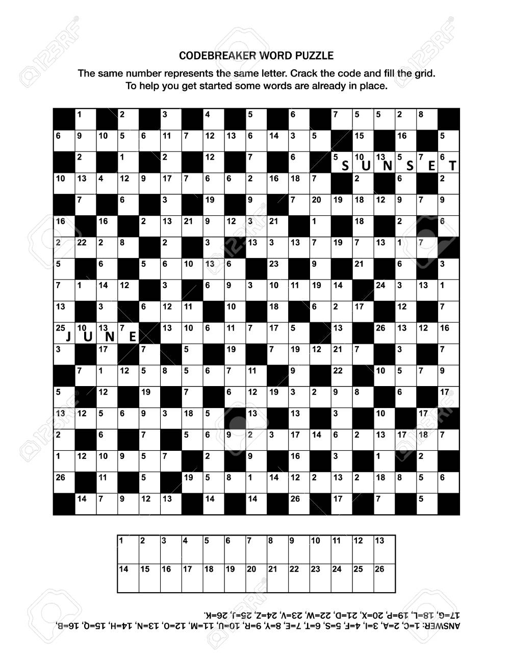 Puzzle Page With Codebreaker (Codeword, Code Cracker) Word Game - General Knowledge Crossword Puzzles Printable