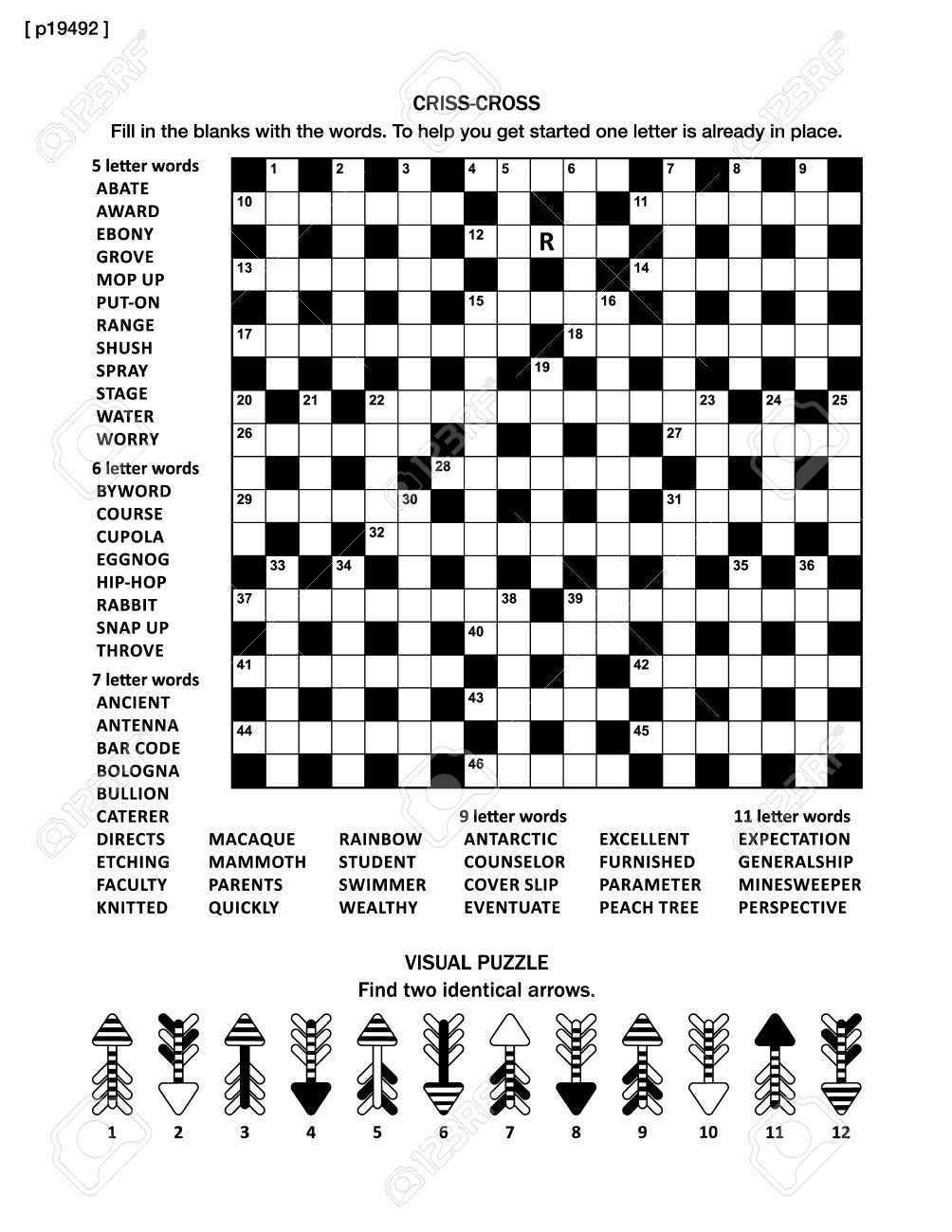 Puzzle Page With Two Puzzles: Big 19X19 Criss-Cross Word Game - Printable Minesweeper Puzzles