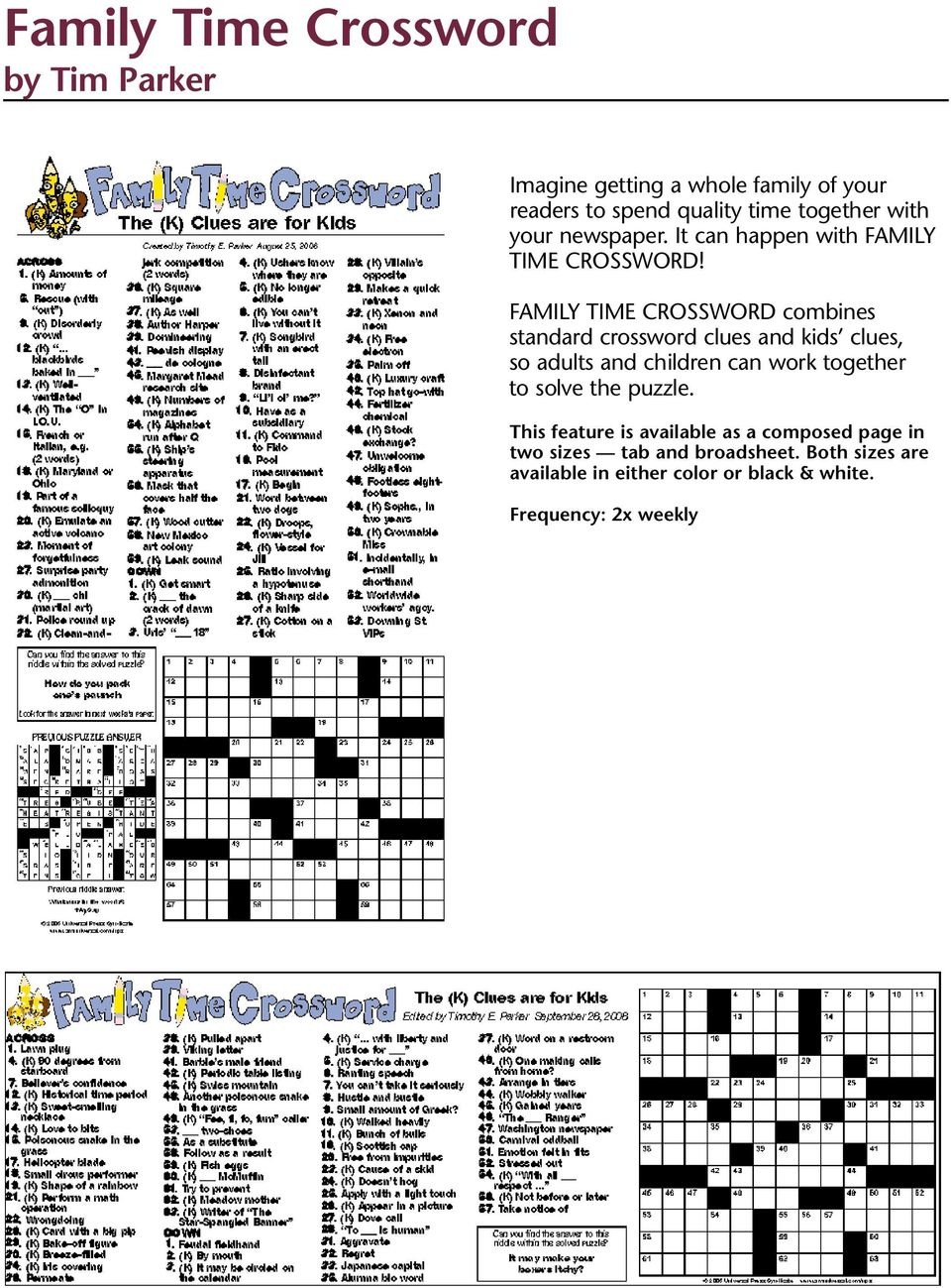Puzzles And Games From Universal Press Syndicate - Pdf - Printable Crossword Puzzles Edited By Timothy Parker
