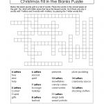 Puzzles To Print. Free Xmas Theme Fill In The Blanks Puzzle   Printable Blank Crossword