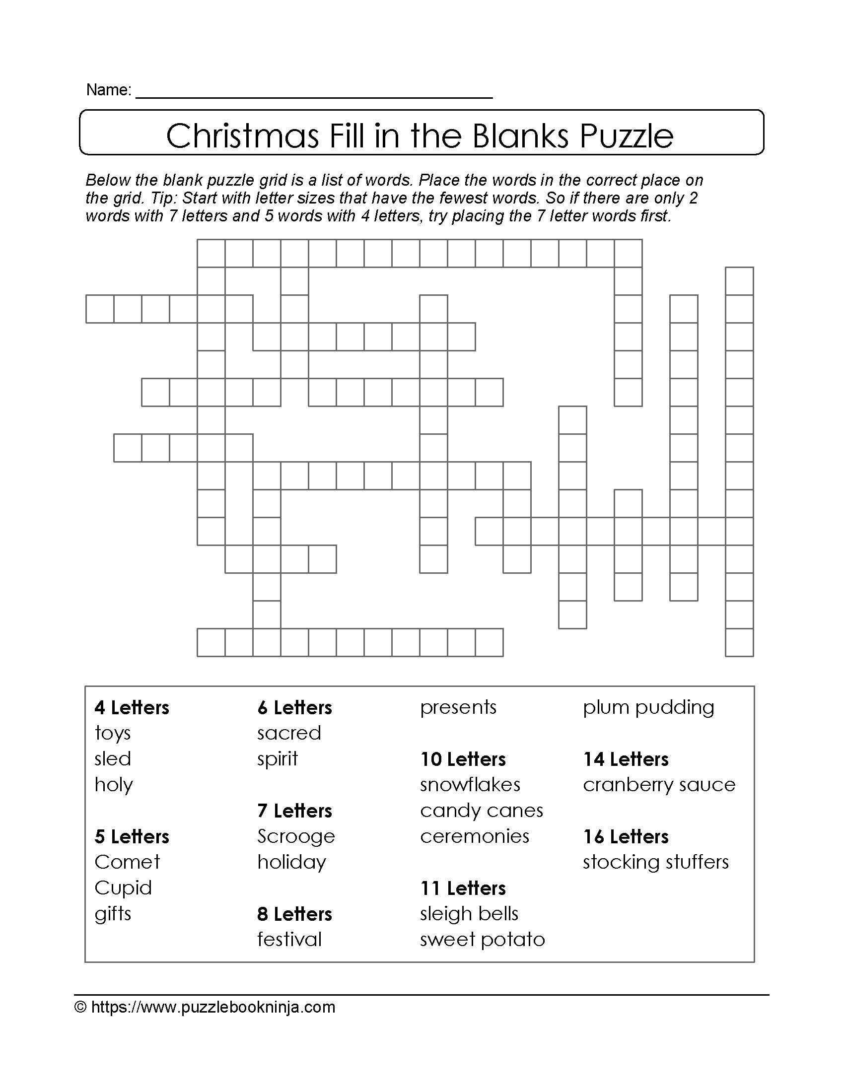 Puzzles To Print. Free Xmas Theme Fill In The Blanks Puzzle - Printable Holiday Crossword Puzzles For Adults With Answers