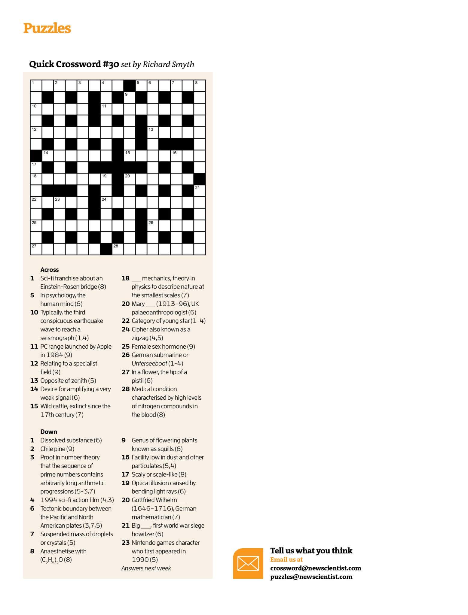 Quick Crossword #30   New Scientist - Daily Quick Crossword Printable Version