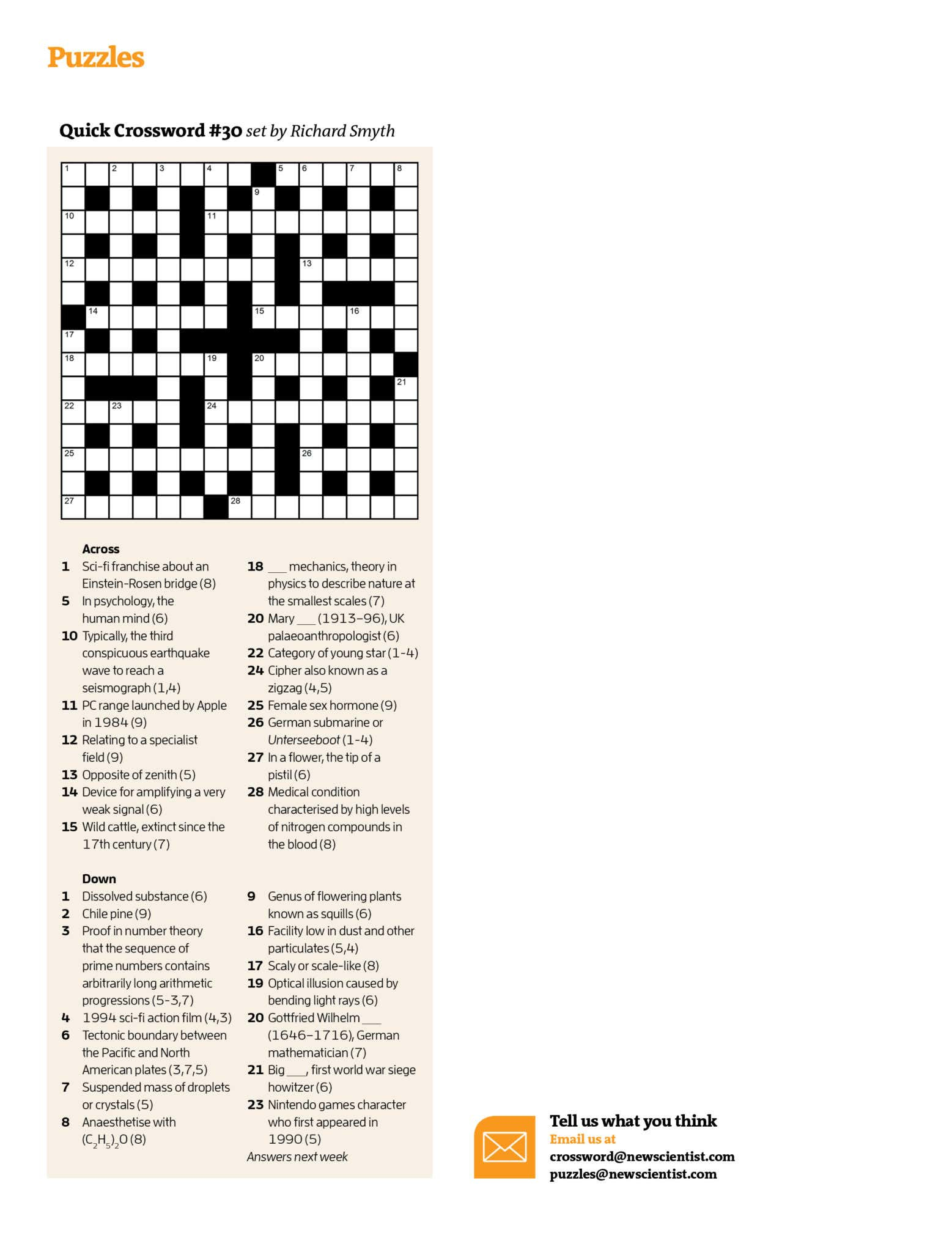 Quick Crossword #30 | New Scientist - Printable Quick Crossword Puzzles