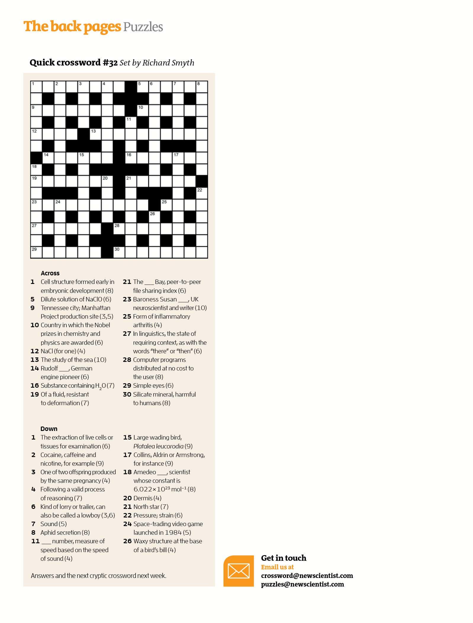Quick Crossword #32 | New Scientist - Printable Quick Crossword
