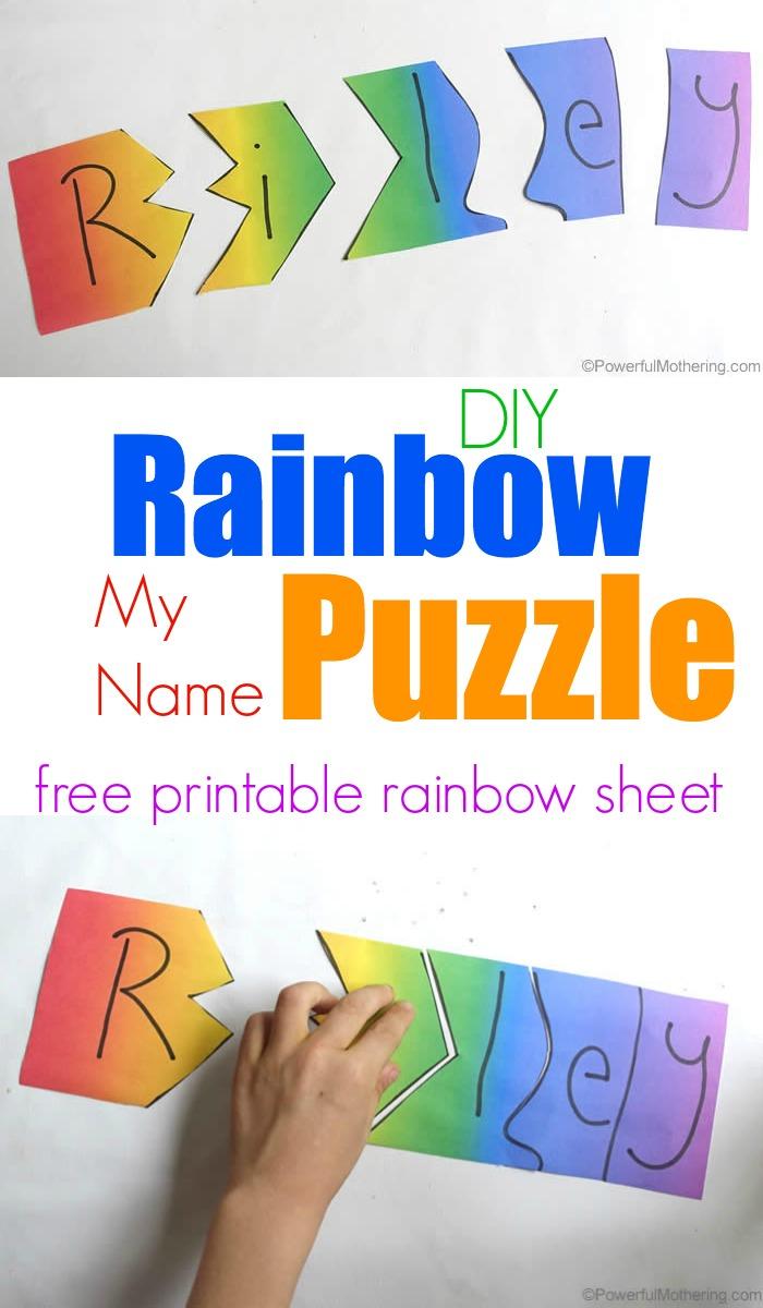 Rainbow My Name Puzzles - Printable Rainbow Number Puzzle