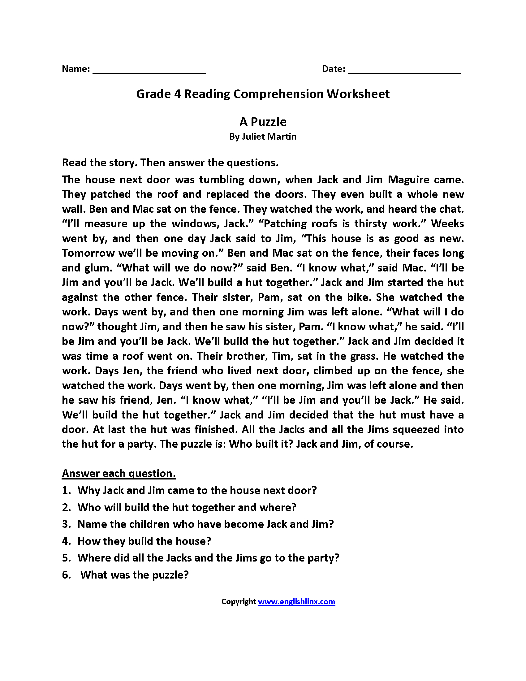 Reading Worksheets | Fourth Grade Reading Worksheets - Reading Printable Puzzle