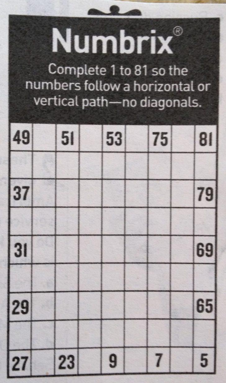 Printable Numbrix Puzzles