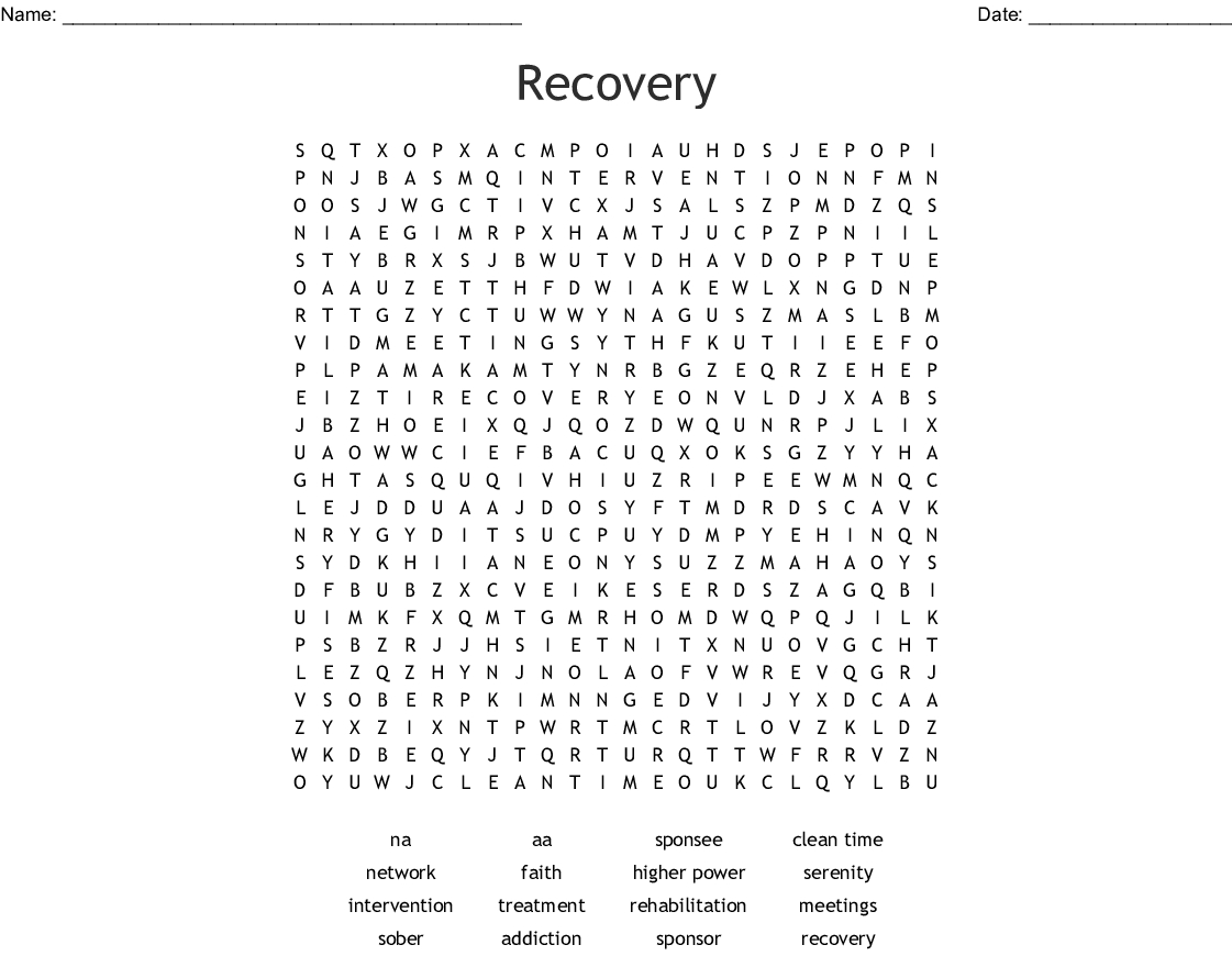 Recovery Word Search - Wordmint - Printable Recovery Crossword Puzzles