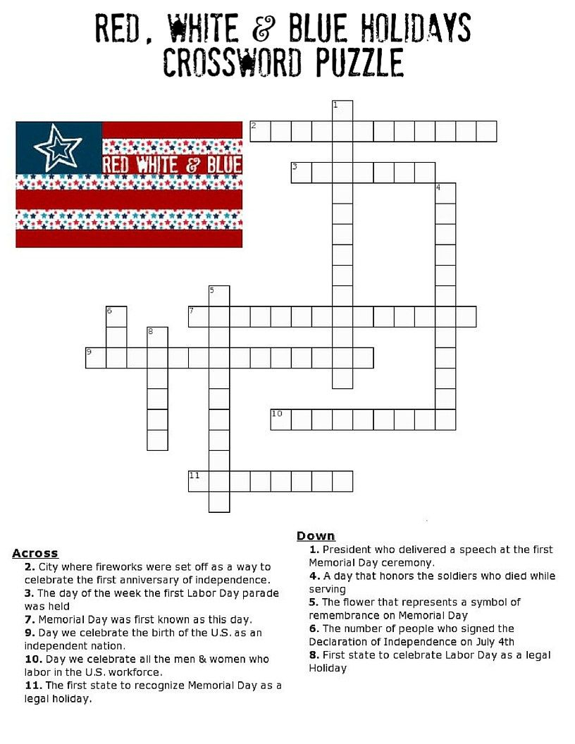 Red, White And Blue Holidays Crossword Puzzle | * Printables - Printable Fourth Of July Crossword Puzzles
