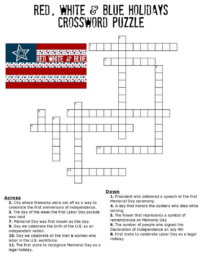 Red, White And Blue Holidays Crossword Puzzle - Three Kids And A Fish - Holiday Crossword Puzzles Printable