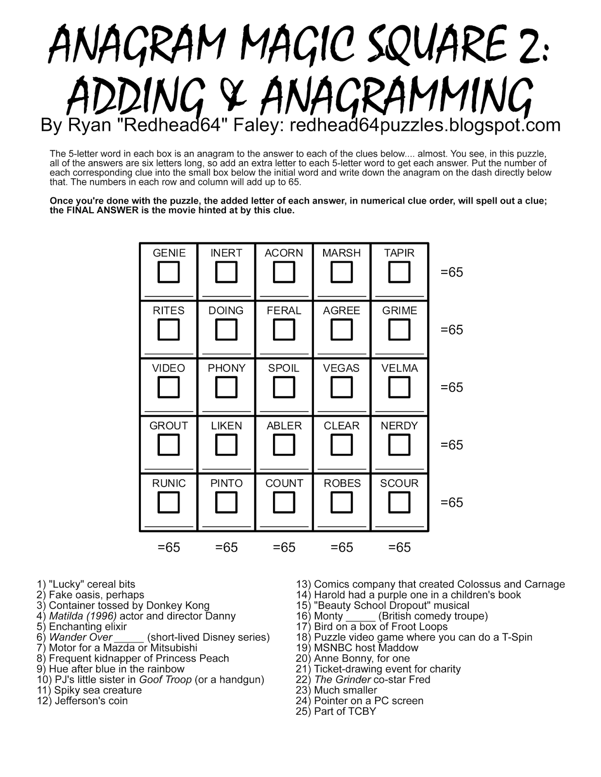 Redhead64's Obscure Puzzle Blog!: Puzzle #93: Anagram Magic Square 2 - Printable Square Puzzle