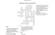 Respiratory System Crossword Puzzle   Educative Puzzle For Kids   Respiratory System Crossword Puzzle Printable