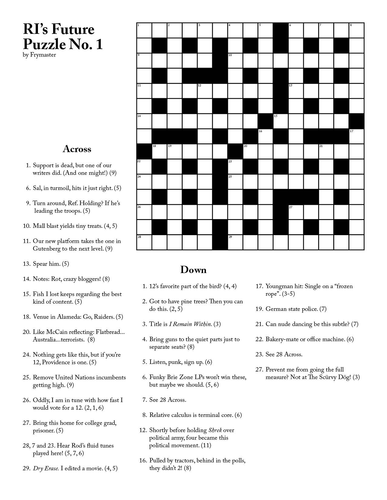 Ri Future Cryptic Crossword #1 - Printable Crossword #1