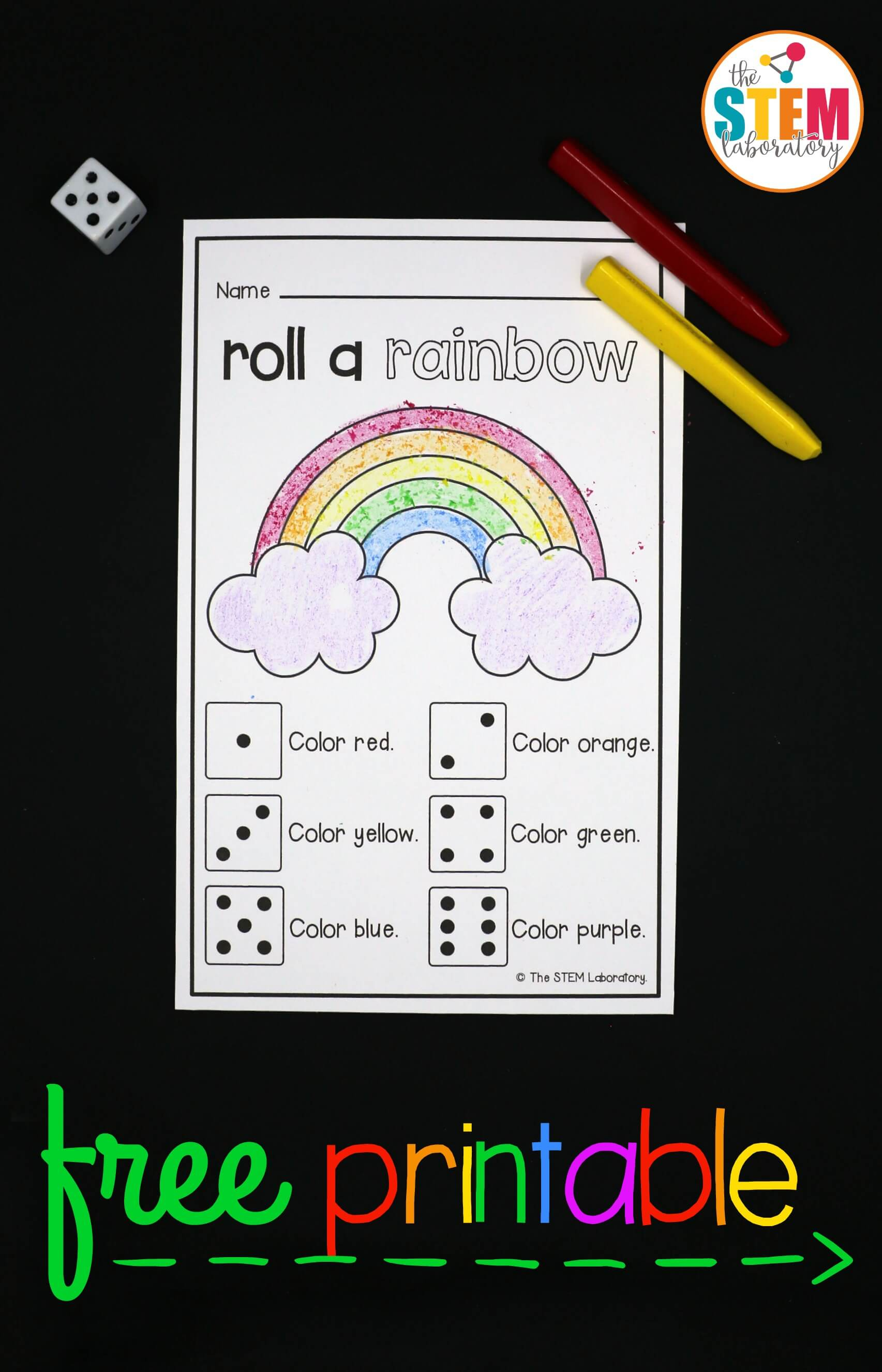 Roll A Rainbow - The Stem Laboratory - Printable Rainbow Puzzle