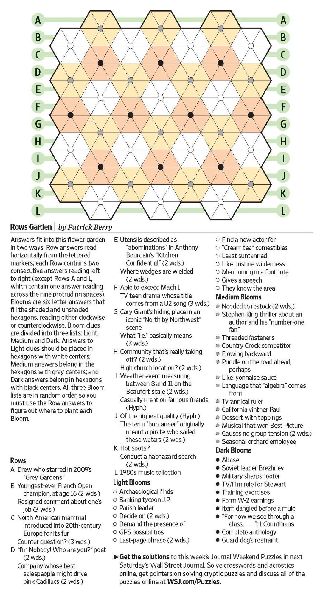 Rows Garden (Saturday Puzzle) - Wsj Puzzles - Wsj - Wall Street Journal Crossword Puzzle Printable