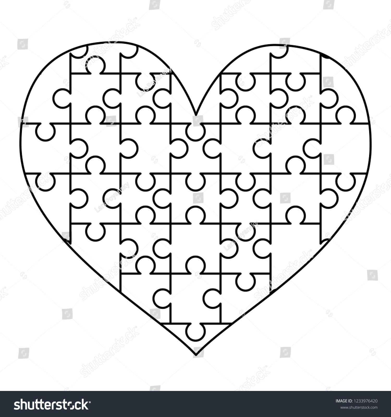 Royalty Free Stock Illustration Of White Puzzles Pieces Arranged - Printable Puzzle Heart