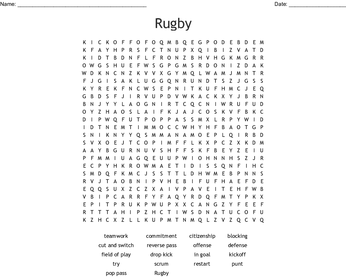 Rugby Word Search - Wordmint - Printable Crosswords Rugby