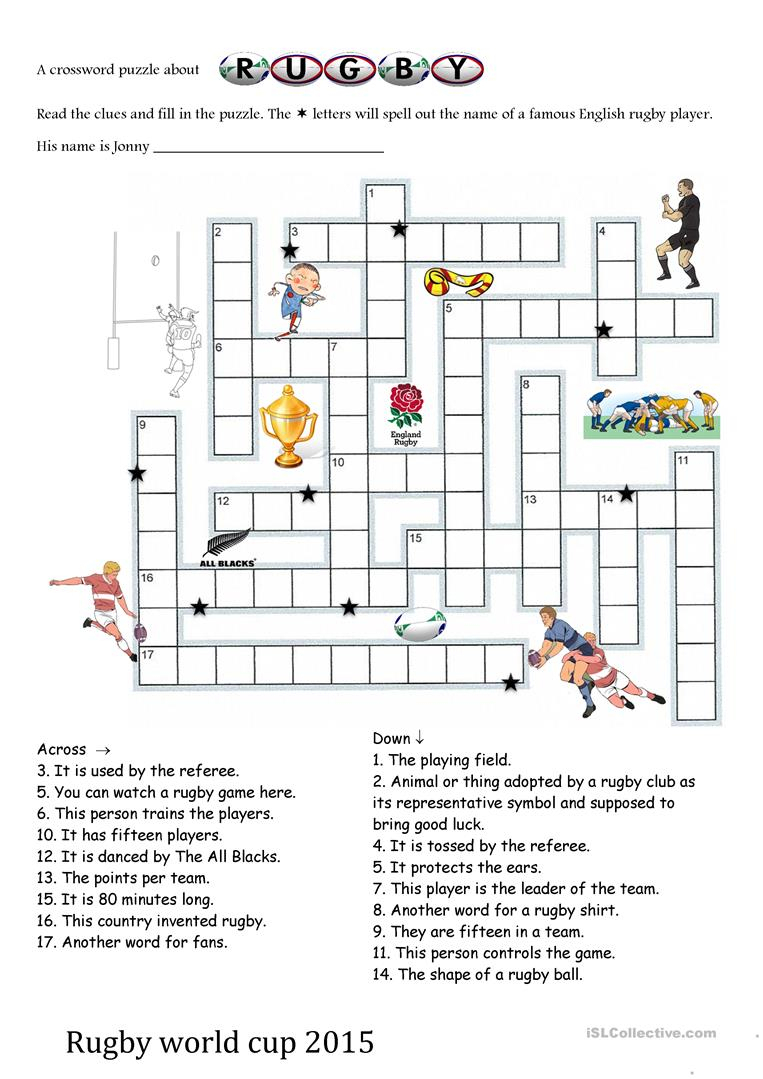 Rugby World Cup 2015 Crosswords Worksheet - Free Esl Printable - Printable Crosswords Rugby