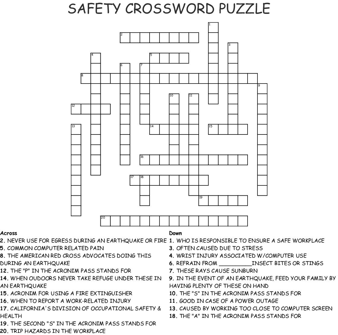 Safety Crossword Puzzle Crossword - Wordmint - Fire Safety Crossword Puzzle Printable