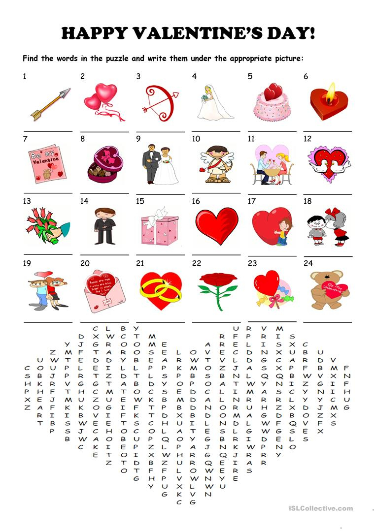 Saint Valentine's Day - Word Search Puzzle Worksheet - Free Esl - Printable Valentine Crossword Puzzles
