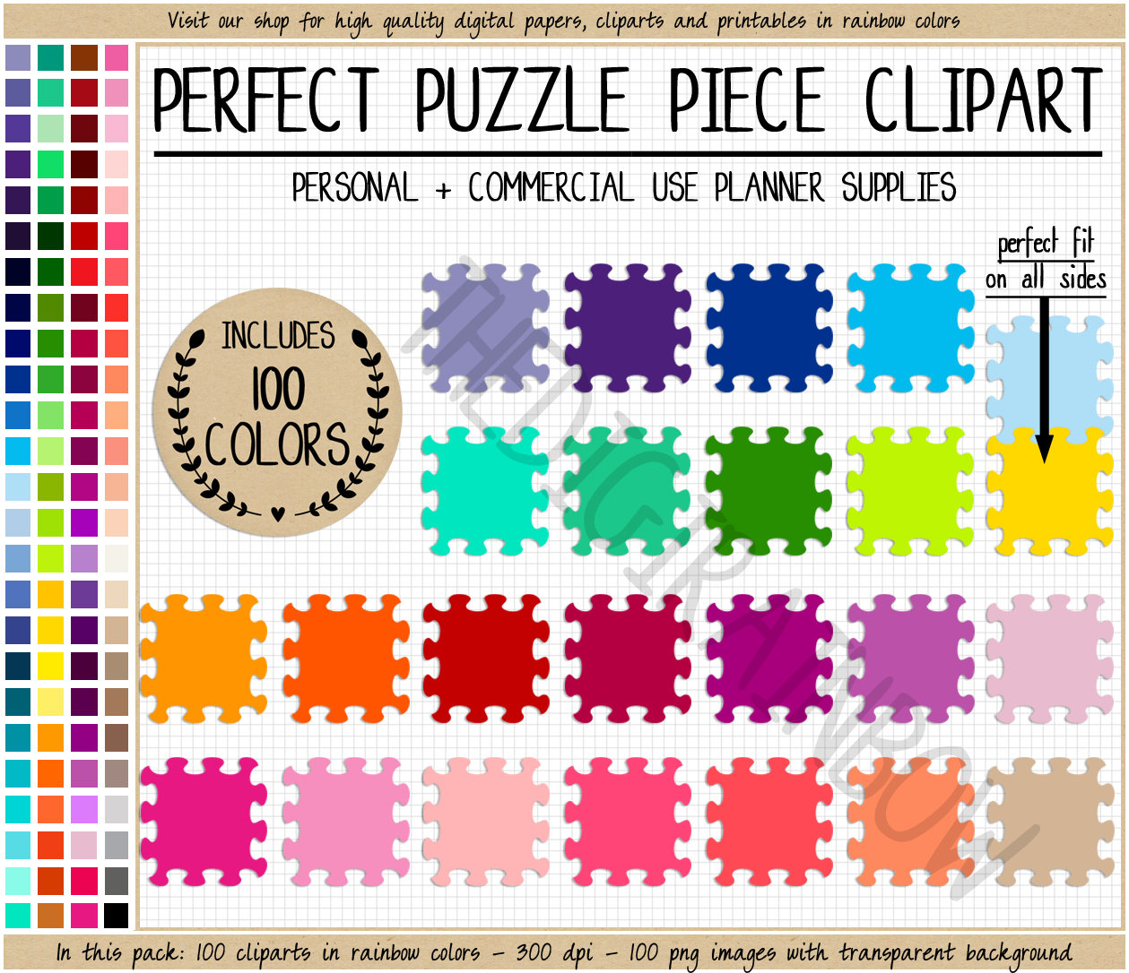 Sale 100 Puzzle Clipart Rainbow Puzzle Printable Sticker Board | Etsy - Printable Rainbow Puzzle
