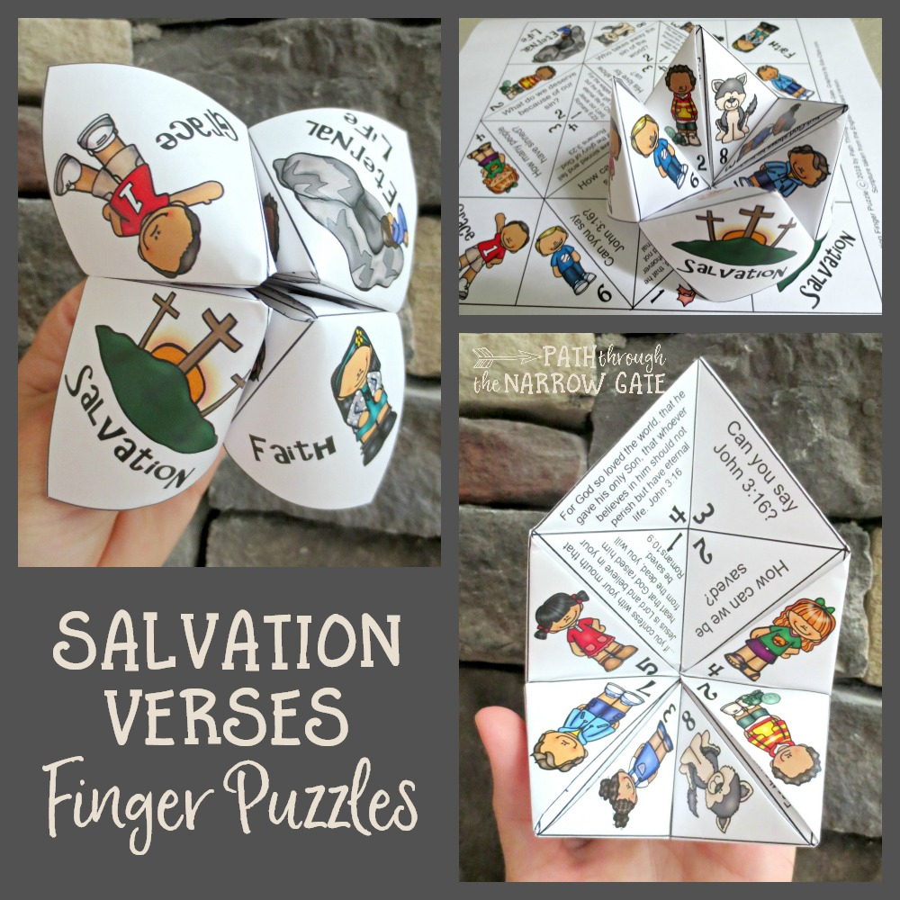 Salvation Verses Finger Puzzle - Path Through The Narrow Gate - Printable Finger Puzzle