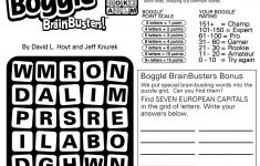 Sample Of Boggle Brainbusters Sunday Square   Tribune Content Agency   Printable Boggle Puzzle