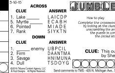 Sample Of Daily Horizontal Jumble Crosswords   Tribune Content   Printable Jumble Crosswords