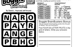 Sample Of Daily Square Boggle Brainbusters | Tribune Content Agency   Printable Boggle Puzzle