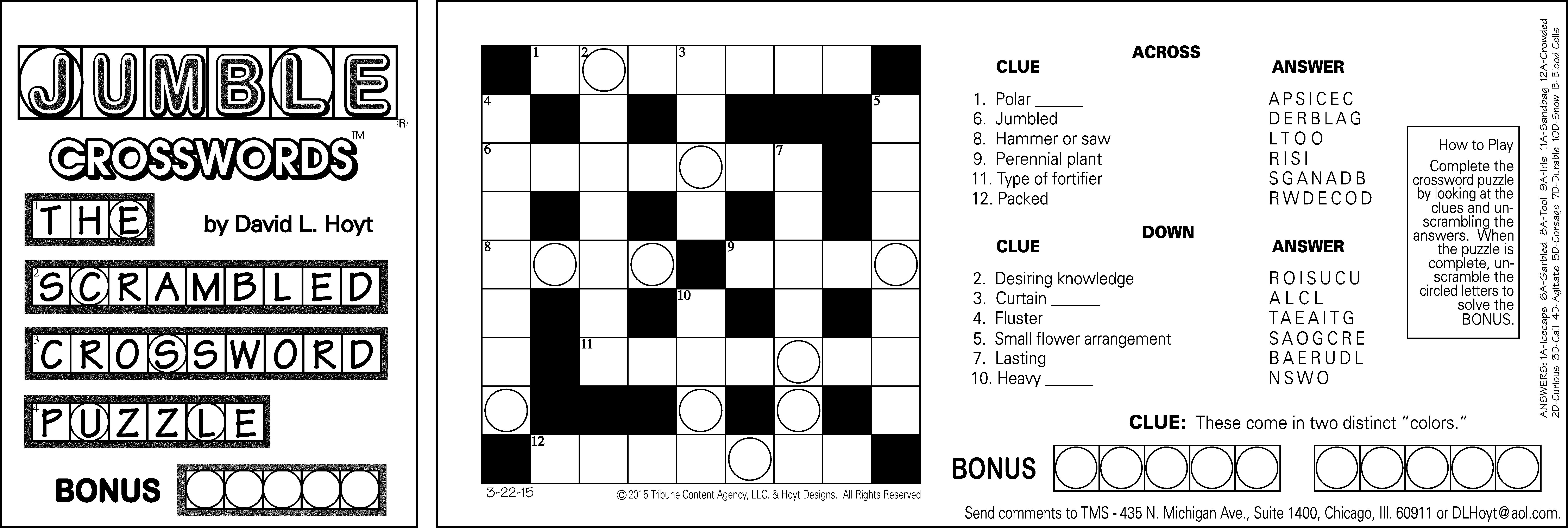 Sample Of Horizontal Sunday Jumble Crosswords | Tribune Content - Printable Jumble Crossword Puzzles