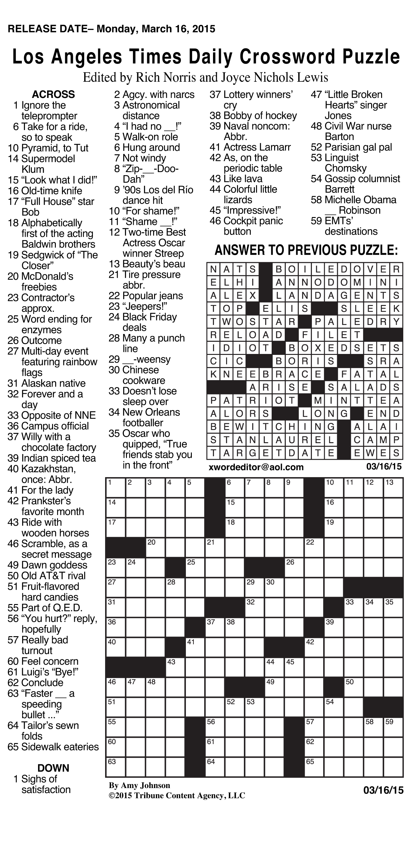 Sample Of Los Angeles Times Daily Crossword Puzzle | Tribune Content - Usa Today Printable Crossword Puzzles 2015