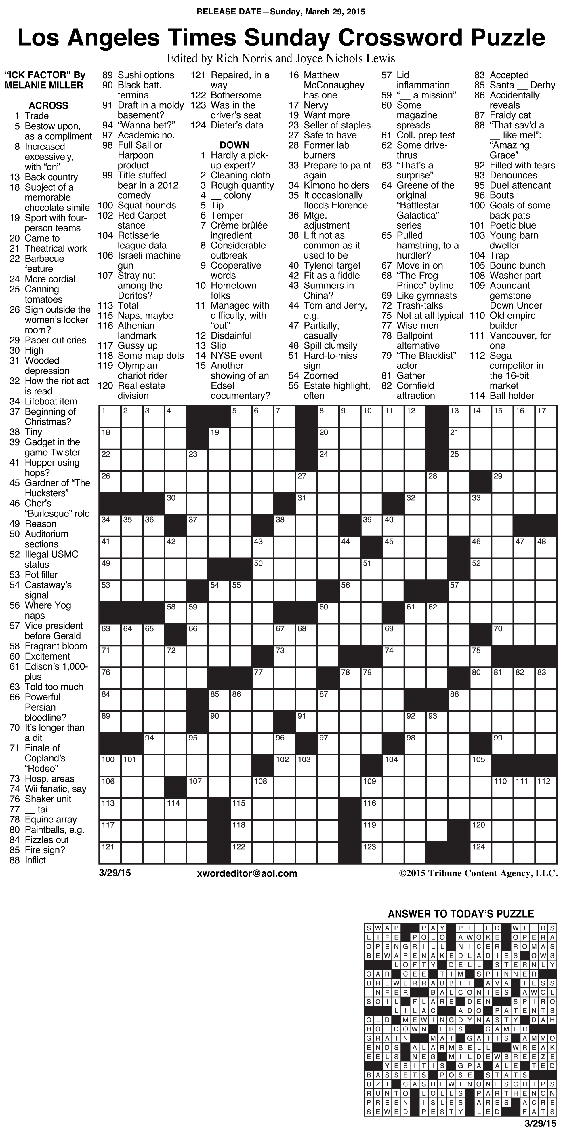 Sample Of Los Angeles Times Sunday Crossword Puzzle | Tribune - Usa Today Printable Crossword Puzzles 2015