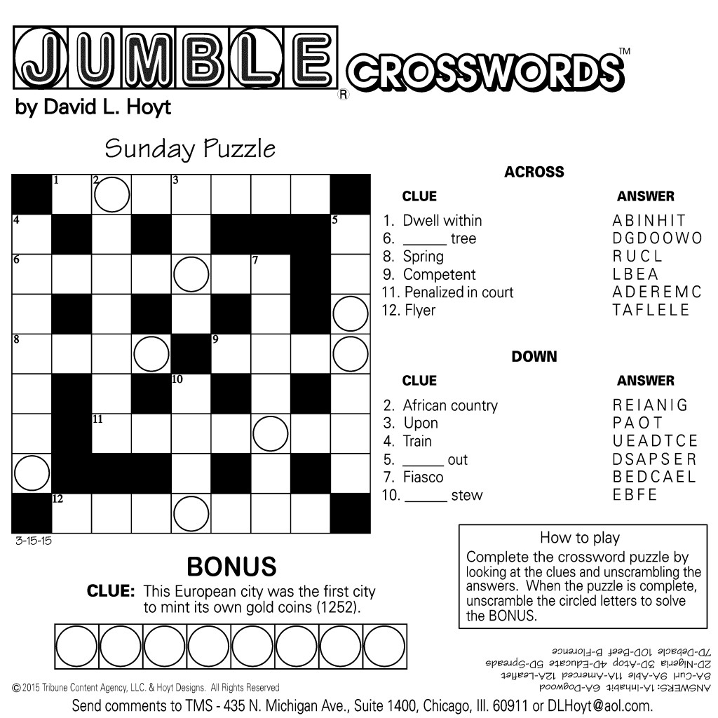 Sample Of Square Sunday Jumble Crosswords | Tribune Content Agency - Printable Jumble Puzzles With Answers