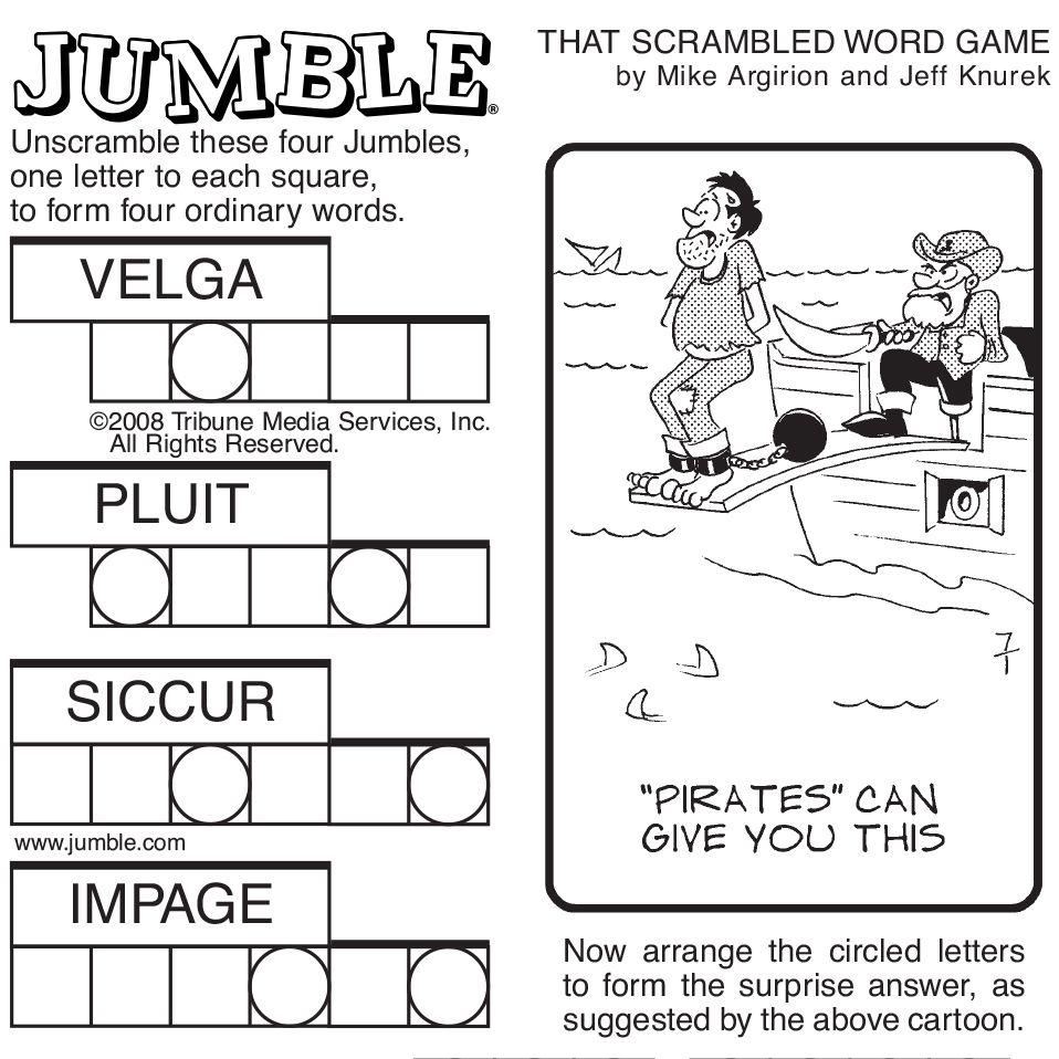 Sample Of Sunday Jumble | Tribune Content Agency | Stuff I Like - Printable Jumble Puzzles With Answers