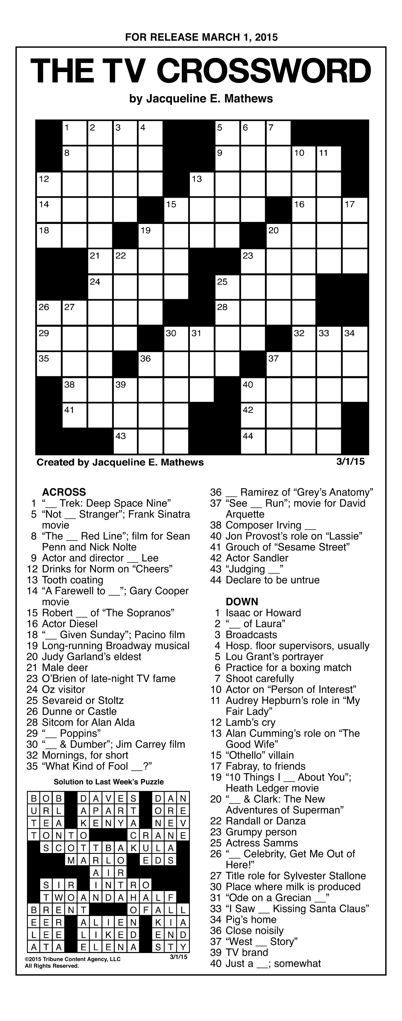Sample Of The Tv Crossword | Tribune Content Agency (March 1, 2015) - Printable Crossword Puzzles By Jacqueline Mathews
