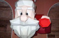 Santa Papercraft Polygon Figure 3D Paper Puzzle Trophy Santa Claus   Printable Origami Puzzle