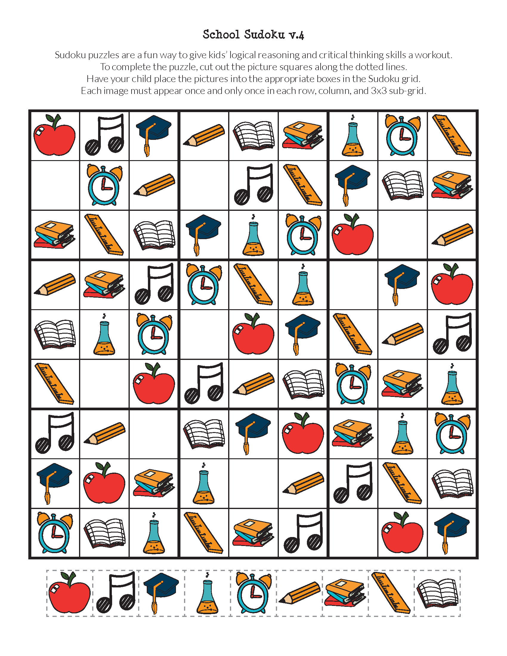 School Sudoku Puzzles {Free Printables} - Gift Of Curiosity - Printable Sudoku Puzzles 3X3