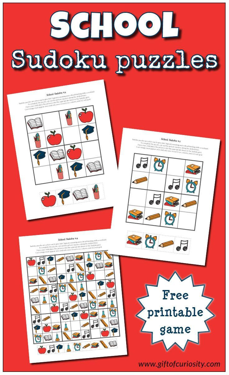 School Sudoku Puzzles {Free Printables} | Tutoring - Sudoku Puzzles - Printable Deductive Reasoning Puzzles
