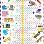 School Things: Crossword Puzzle With Key: Esl Printable Worksheet Of – Printable Crossword Puzzle For Primary School