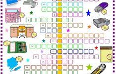 School Things: Crossword Puzzle With Key: Esl Printable Worksheet Of – Printable Crossword Puzzle For Primary School