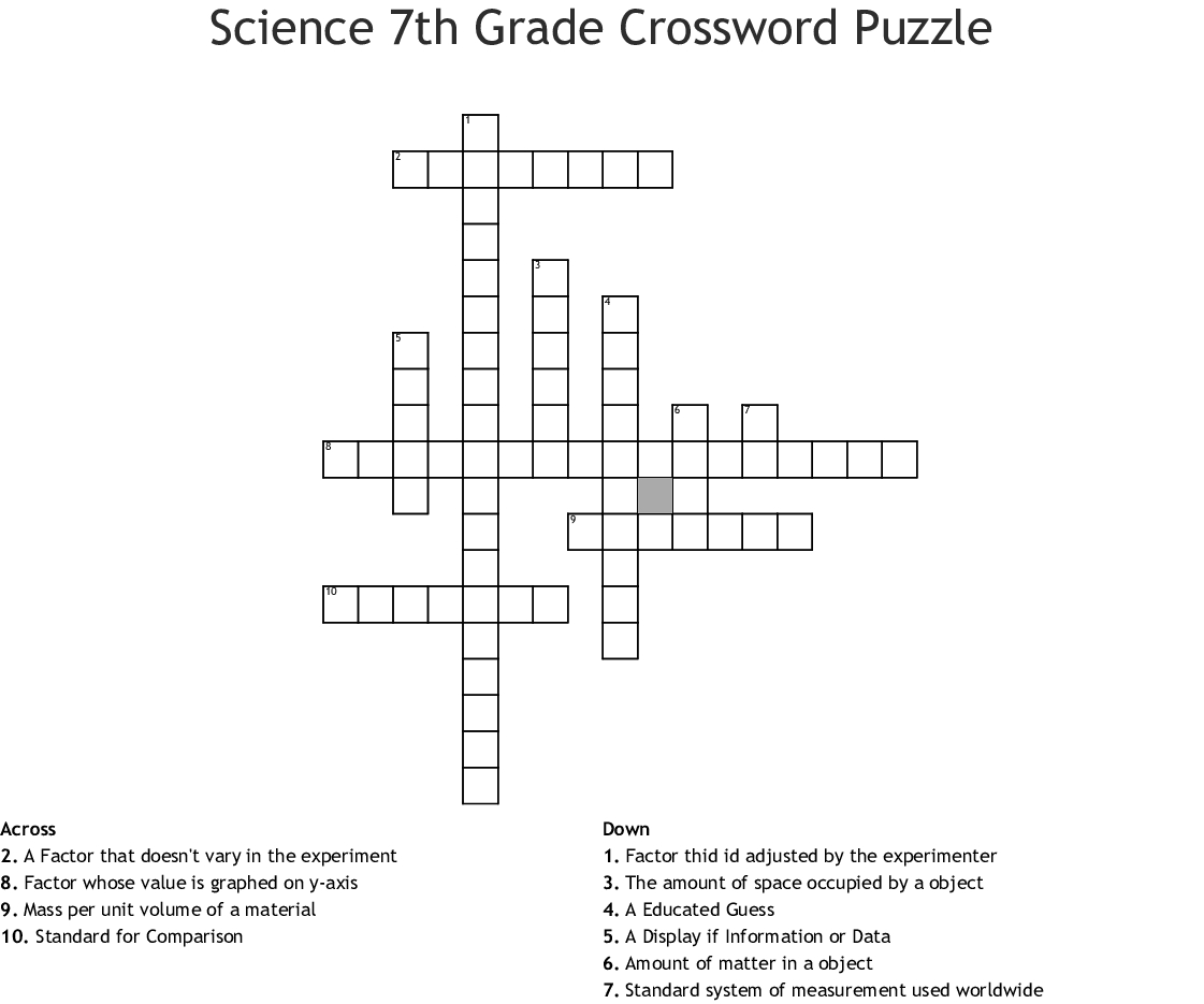 Science 7Th Grade Crossword Puzzle Crossword - Wordmint - Crossword Puzzles Printable 7Th Grade