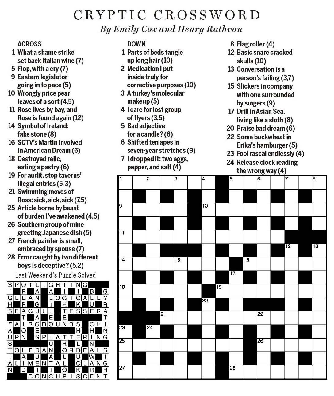 Sctv Crosswords - Printable Wsj Crossword