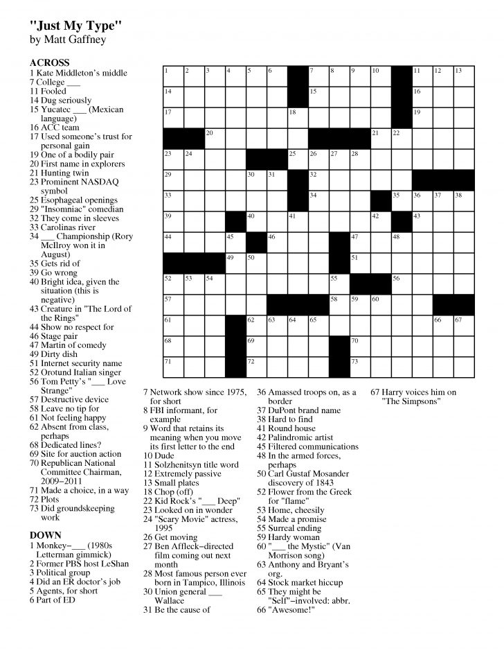 Free Printable Daily Crossword Puzzles October 2016