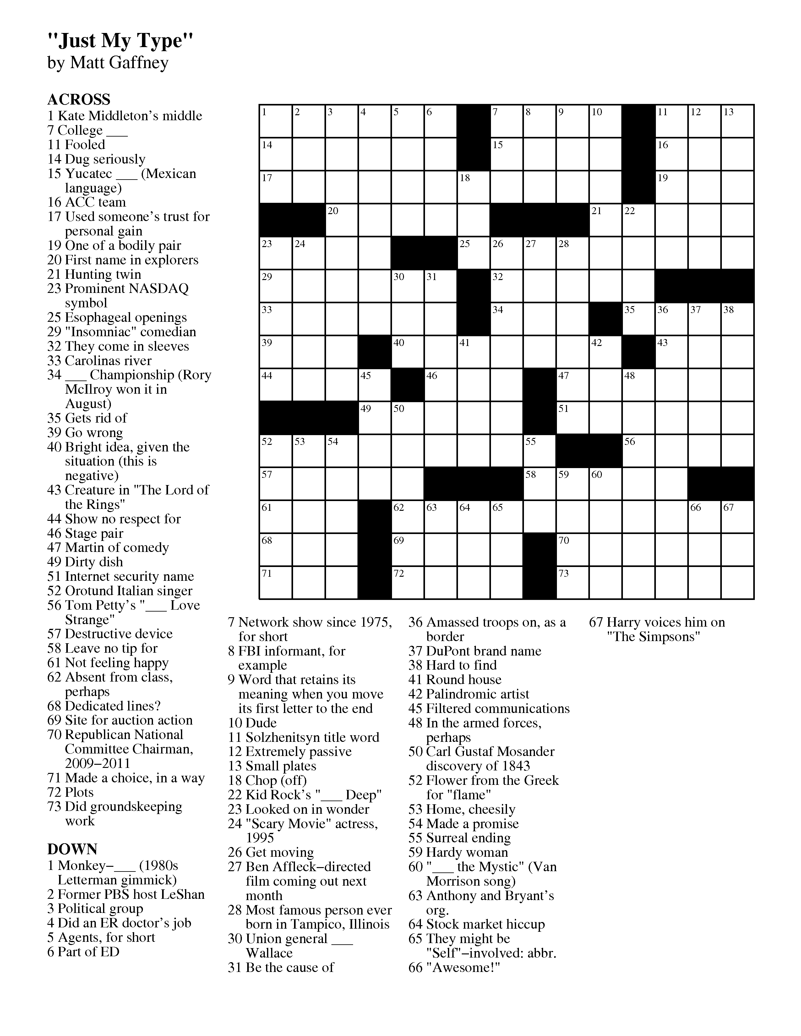 September | 2012 | Matt Gaffney's Weekly Crossword Contest - Printable Crossword Puzzles August 2017
