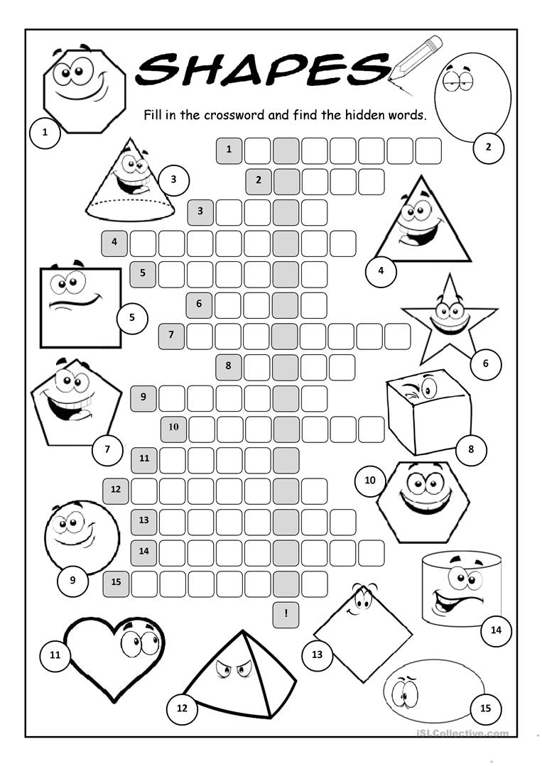 Shapes Crossword Puzzle Worksheet - Free Esl Printable Worksheets - Printable Puzzle Shapes